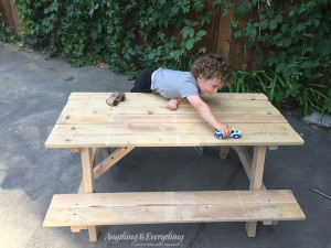 Home Depot Kids Picnic Table assembled