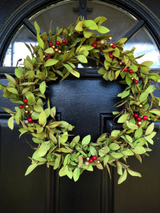 Easy greenery and berry Holiday wreath