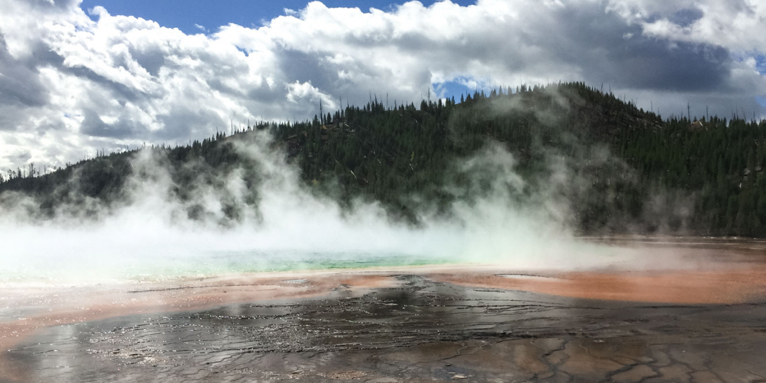 View of Grand Prismatic Spring in Yellowstone National Park